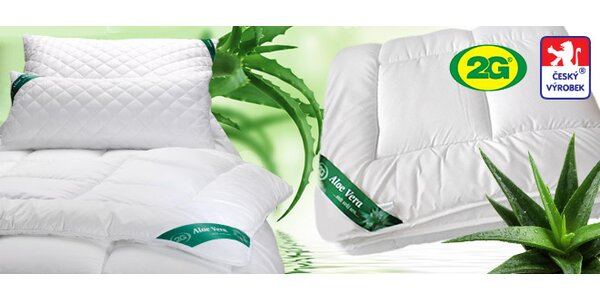 Výprodej celoročních přikrývek, polštářů a podložek s Aloe Vera.