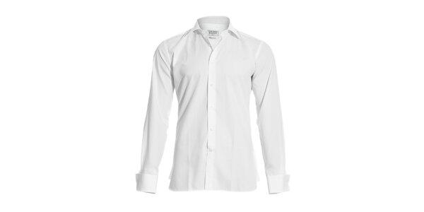 Pánská bílá slim-fit košile na manžetové knoflíčky Vincenzo Boretti