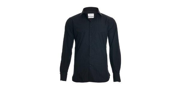 Pánská slim-fit košile na manžetové knoflíčky Vincenzo Boretti v černé barvě