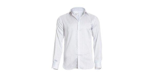 Pánská slim-fit košile Vincenzo Boretti v bílé barvě s jemným tmavě modrým…