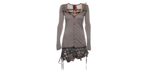 Dámské šedé šaty Desigual s barevnými knoflíky