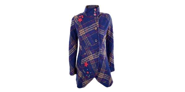 Dámský modro-hnědý kabátek s kostkou a kytičkami Desigual
