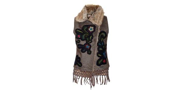 Dámská béžová vesta s barevnými nášivkami Desigual