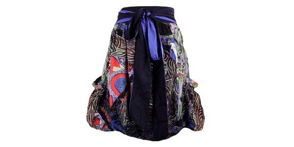 Dámská černo-fialová sukně s potiskem a mašlí Desigual