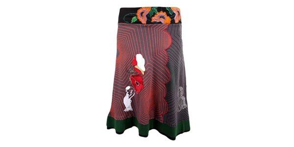 Dámská šedo-červeno-zelená sukně Desigual