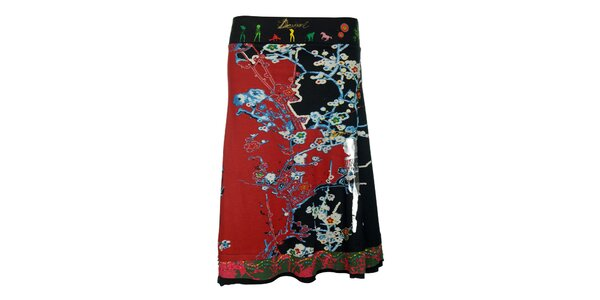 Dámská červeno-černá sukně s pestrým vzorem Desigual