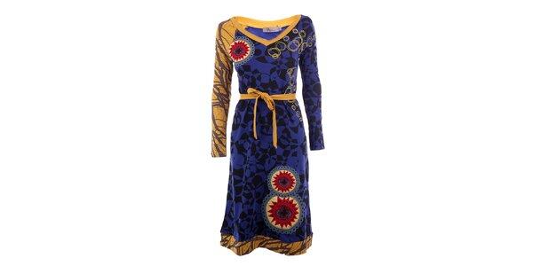 Dámské modro-žluté šaty DY Dislay Design