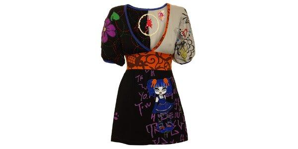 Dámská černo-šedá tunika s oranžovým pasem a modrou panenkou Dislay DY Design