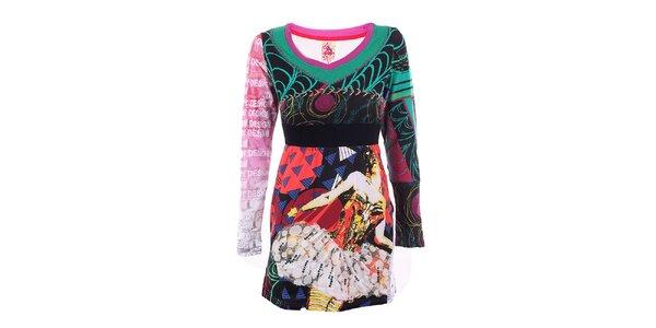 Dámské barevné šaty s krajkovou aplikací DY Dislay Design