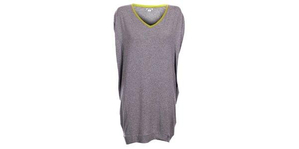 Dámská světle šedá noční košile DKNY se žlutým lemem