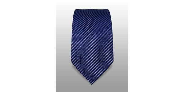 Tmavě modrá kravata s jemným bílým proužkem značky Vincenzo Boretti