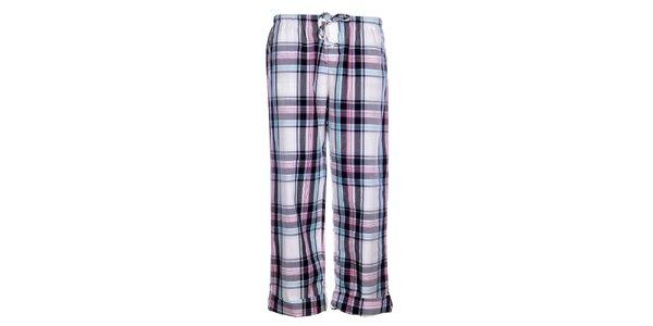Dámské bílé pyžamové kalhoty DKNY s kostkovaným vzorem