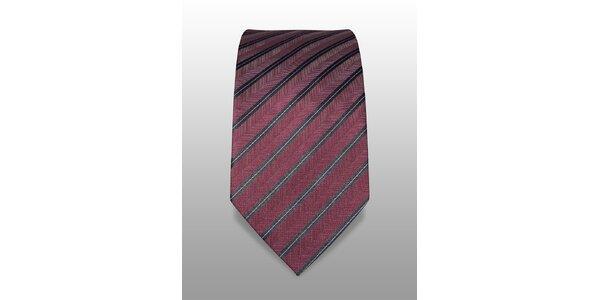 Vínová kravata s jemným černobílým proužkem značky Vincenzo Boretti