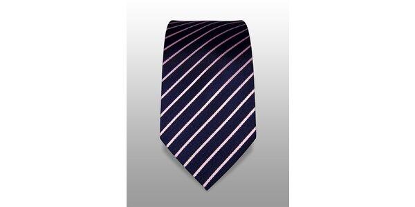 Tmavě modrá kravata s bílým proužkem značky Vincenzo Boretti