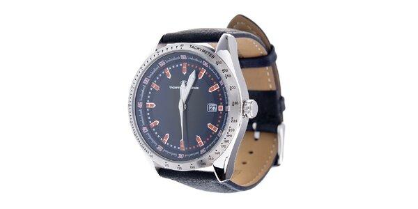 Stylové ocelové hodinky Tom Tailor s černým koženým řemínkem