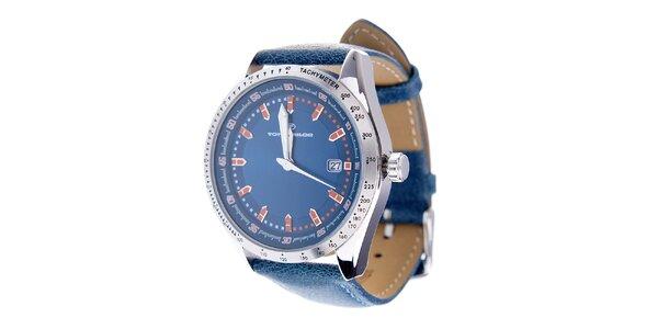 Stylové tmavě modré hodinky Tom Tailor s koženým řemínkem