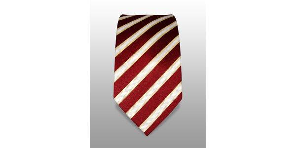 Vínová kravata s bíložlutým proužkem značky Vincenzo Boretti