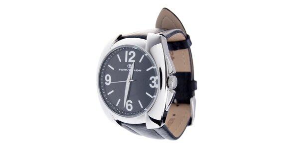 Pánské černé hodinky Tom Tailor s koženým řemínkem