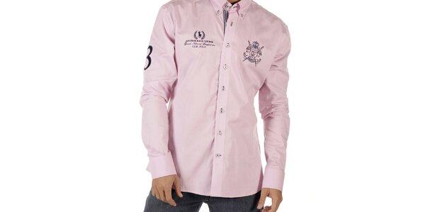 Pánská růžová košile s výšivkami CLK