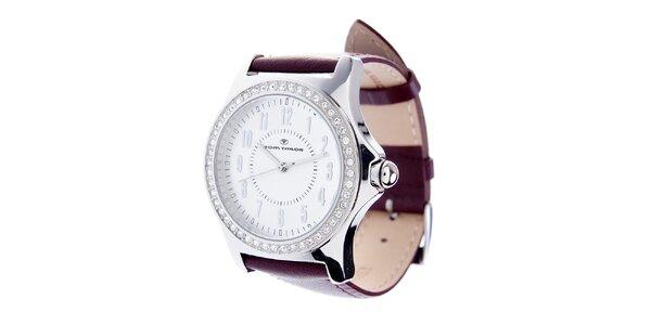 Dámské ocelové hodinky Tom Tailor s vínovým koženým řemínkem