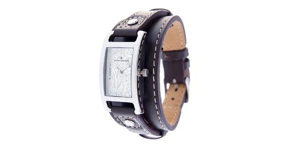 Dámské náramkové hodinky Tom Tailor s tmavě hnědým koženým řemínkem