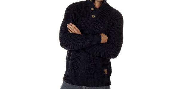 Pánský tmavě modrý svetr s copánkovým vzorem CLK