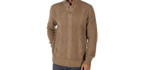Pánský světle hnědý svetr s copánkovým vzorem CLK