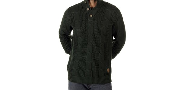 Pánský lahvově zelený pletený svetr CLK