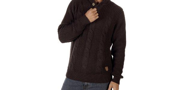Pánský tmavě hnědý svetr s copánkovým vzorem CLK
