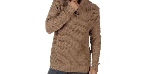 Pánský světle hnědý svetr se stojáčkem CLK