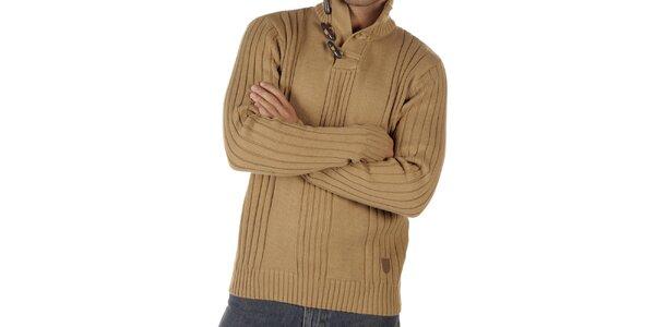 Pánský velbloudí svetr s olivkami CLK