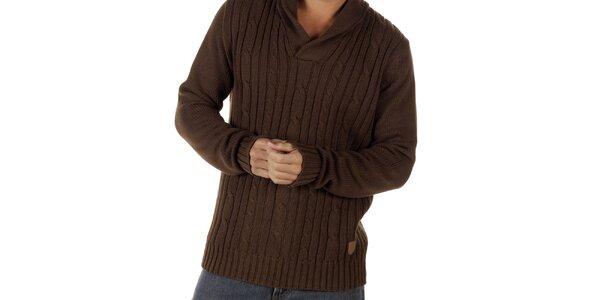 Pánský hnědý svetr s plastickým vzorem CLK