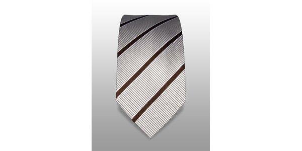 Bílá kravata s jemným hnědým proužkem značky Vincenzo Boretti