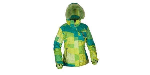 Dámská zelená funkční zimní bunda s kožešinou Envy