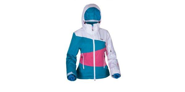 Dámská snowboardová bunda v bílo-modro-růžové barvě Envy
