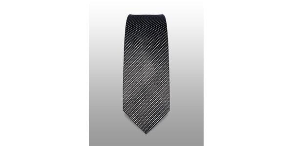 Černá kravata s jemným bílým a šedým proužkem značky Vincenzo Boretti