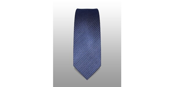 Tmavě modrá kravata s jemným bílým a světle modrým proužkem značky Vincenzo…