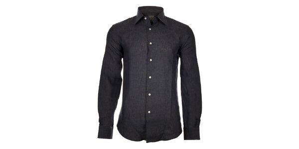 Pánská tmavě šedá lněná košile Calvin Klein