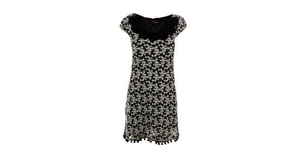Dámské černé krajkové šaty s růžemi Yumi