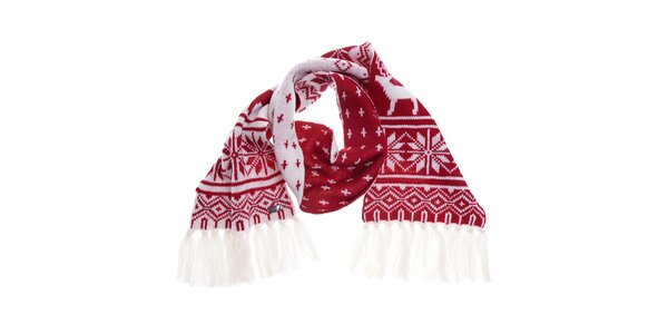 Dámská červeno-bílá vlněná šála Fraas s norským vzorem