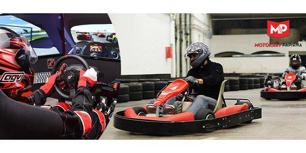 Jízda v rychlé motokáře a závodním simulátoru
