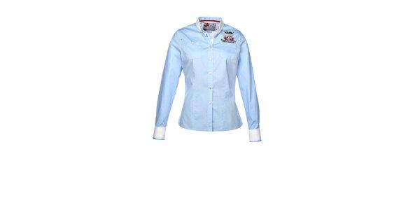 Dámská světle modrá košile s dlouhým rukávem a výšivkou M. Conte