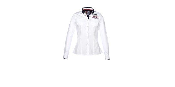 Dámská bílá košile s dlouhým rukávem a výšivkou M. Conte