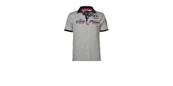 Pánské šedé polo triko s výšivkou M. Conte