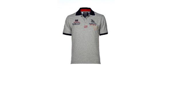 Pánské šedé polo triko s výšivkami M. Conte