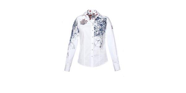 Dámská bílá košile s potiskem a výšivkami M. Conte