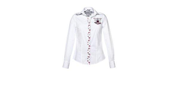 Dámská bílá košile s dlouhým rukávem a nášivkami M. Conte