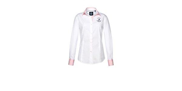 Dámská bílá košile s růžovými manžetami M. Conte