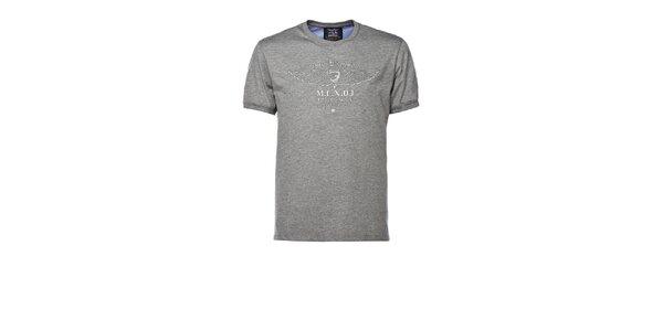 Pánské šedé tričko s výšivkou M. Conte