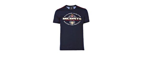 Pánské tmavě modré triko s výšivkou M. Conte